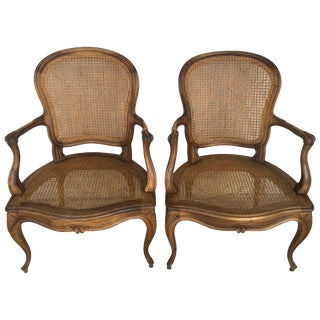 18th Louis XV Cane Back and Seat Fauteuil Armchair For Sale