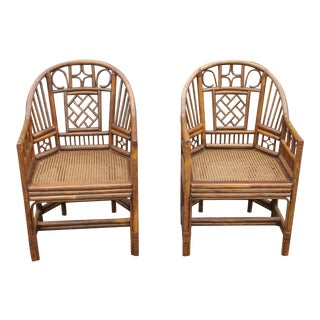 Chinoiserie Bamboo Rattan Brighton Pavilion Chairs - a Pair For Sale