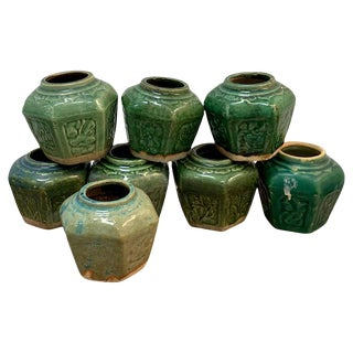 Collection of Eight Chinese Export Hexagonal Vases in Shades of Green For Sale