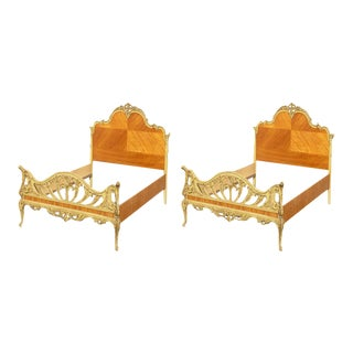 1920s Antique French Full Bed Frames Louis XVl Rococo Ornate Headboards- A Pair For Sale