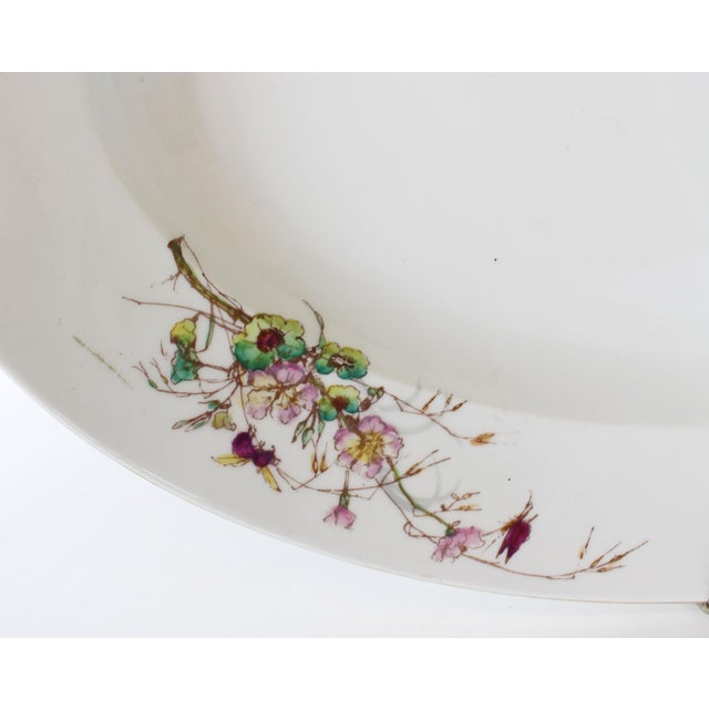 White Limoges Delinieres & Co Porcelain With Floral Design Serving Platter from Late 1800s For Sale - Image 8 of 12