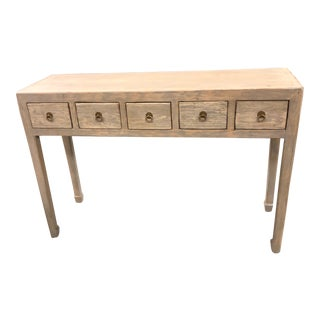 Boho Chic Graywash 5 Drawer Console For Sale
