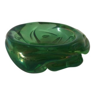 1950s Mid-Century Modern Iridescent Green Murano Glass Dish For Sale