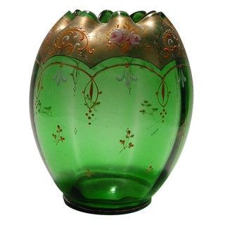 Green Glass Enameled Vase