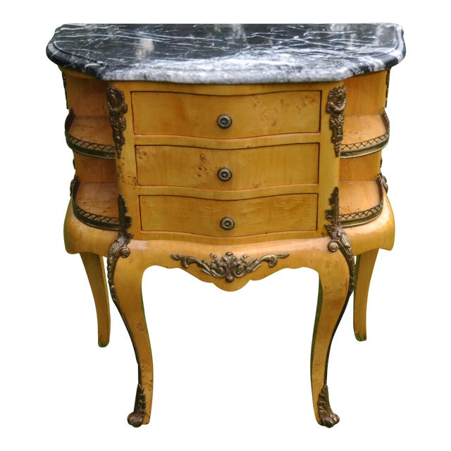 Vintage Louis XV Mounted Marble Top & Bronze Detail Side Table For Sale
