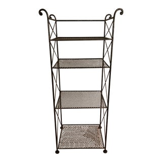 Tall French Wrought Iron Metal Étagère Bookshelf For Sale