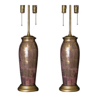 1930s French Glass Decoupage Lamps - a Pair For Sale