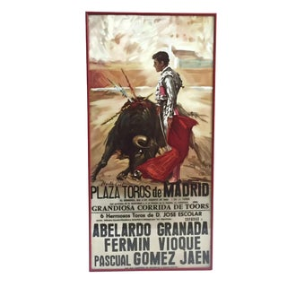 1980s Bull Fighting Reproduction Framed Poster For Sale