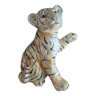 Vintage Mid Century Large Ceramic Tiger Cub Model For Sale