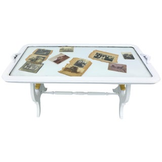 White Glass Top Coffee Table For Sale