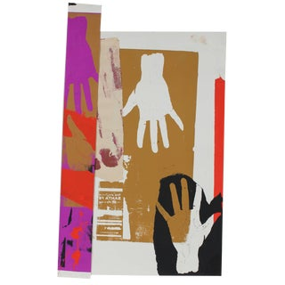 """Barbara Lewis """"Railroad Hands"""" Screen Print and Collage in Purple Red Black Tan, 20th Century For Sale"""