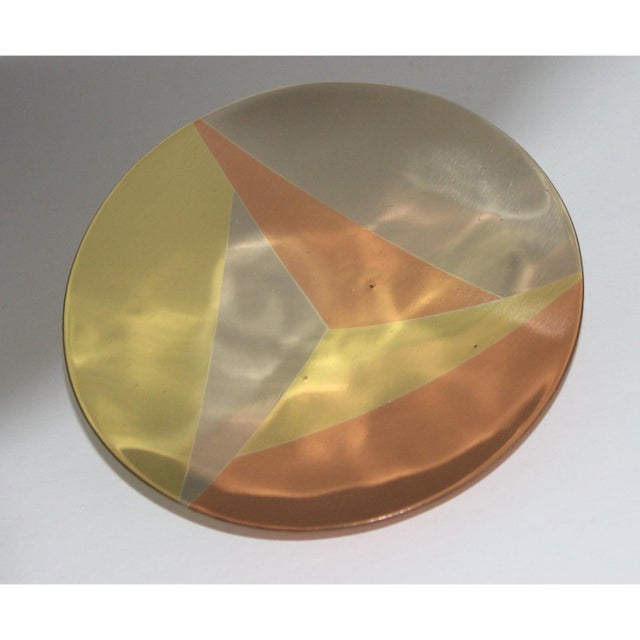 Mid-Century Modern Mid-Century Modern Metales Los Castillo Style Dish Mixed-Metal Round Footed For Sale - Image 3 of 9