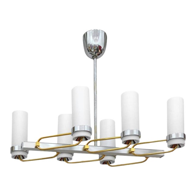 Mid-Century Modern Two-Tone Chandelier with Glass Shades For Sale