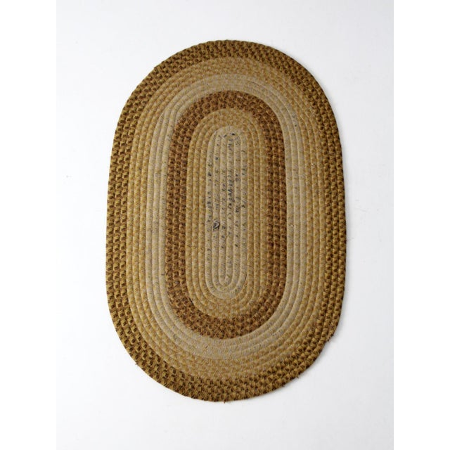 Vintage Braided Wool Accent Rug For Sale - Image 4 of 8