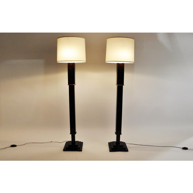 Art Deco Contemporary Step Base Walnut Veneer Floor Lamps - a Pair For Sale - Image 3 of 11