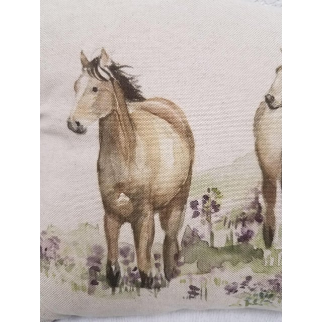 This bolster pillow with three horses was made in Wales, U.K., by a small cottage designer/manufacturer owned by a lovely...