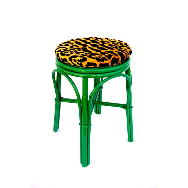 Vintage Emerald Green & Leopard Velvet Rattan Bamboo Accent Stool For Sale - Image 12 of 12