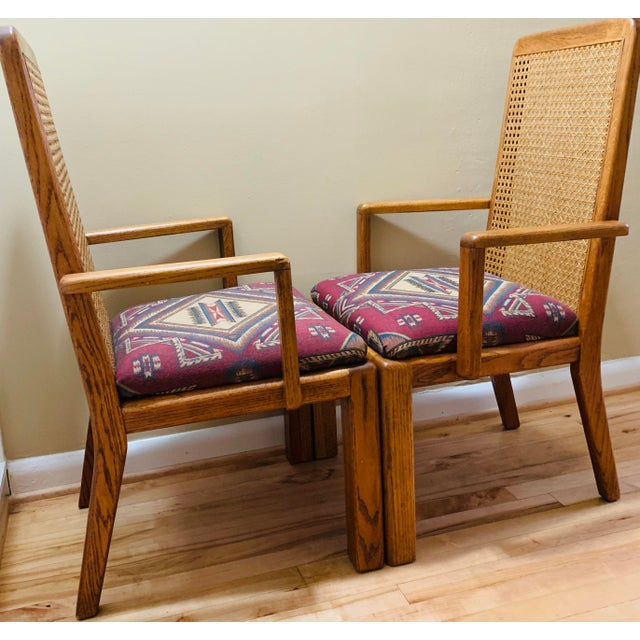 Rustic Mid-Century Lou Hodges Style Tall Cane Back Chairs- A Pair For Sale - Image 3 of 9