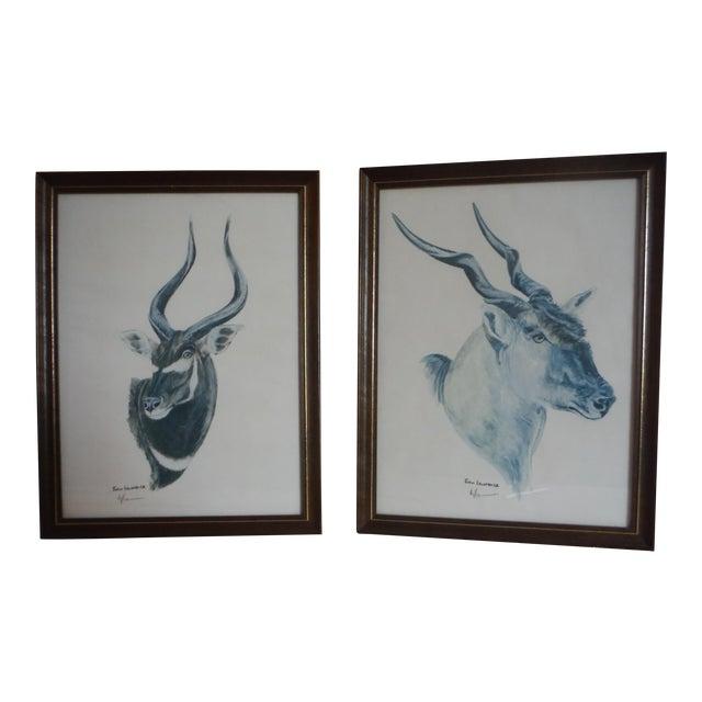 """""""Savannah Animal's"""" Pen & Ink Drawings - A Pair - Image 1 of 10"""