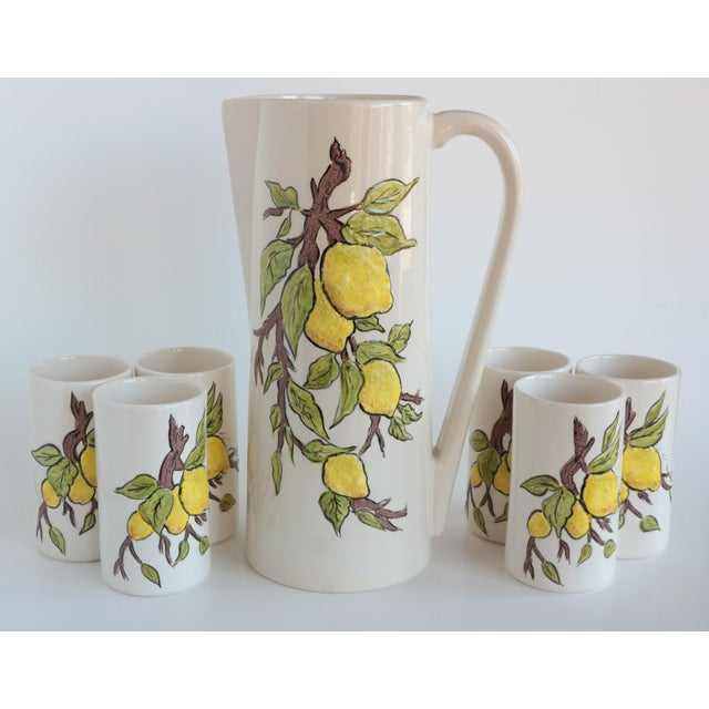 Lemon Branch Pitcher and Tumblers - Set of 6 For Sale - Image 11 of 11