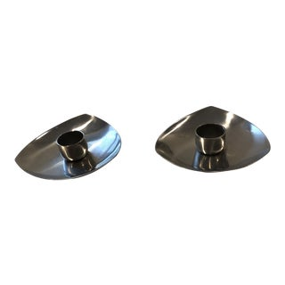 Mid-Century Stainless Steel Danish Candle Holders - a Pair For Sale