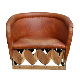 Bohemian Leather Club Chair For Sale