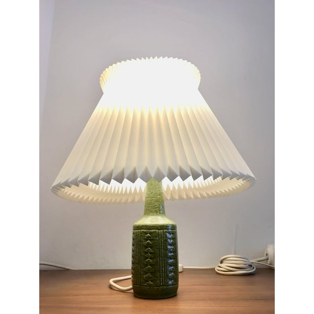 Mid-Century Modern Small Green Danish Ceramic Table Lamp From Palshus, 1960s For Sale - Image 3 of 9