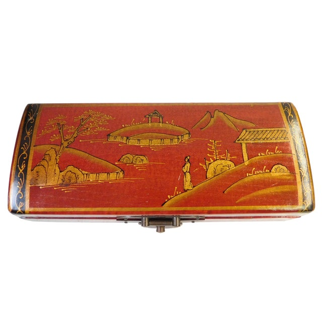 Chinese Oriental Red Rectangular Box For Sale - Image 5 of 6
