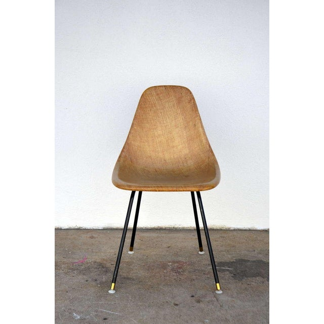 Brown Single Fiberglass Encasted Fabric Mesh Chair by Eames for Herman Miller For Sale - Image 8 of 8