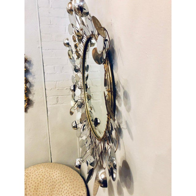 Mid-Century Modern Bamboo Form Frame Mirror with Floating Orbit Spheres For Sale In New York - Image 6 of 12