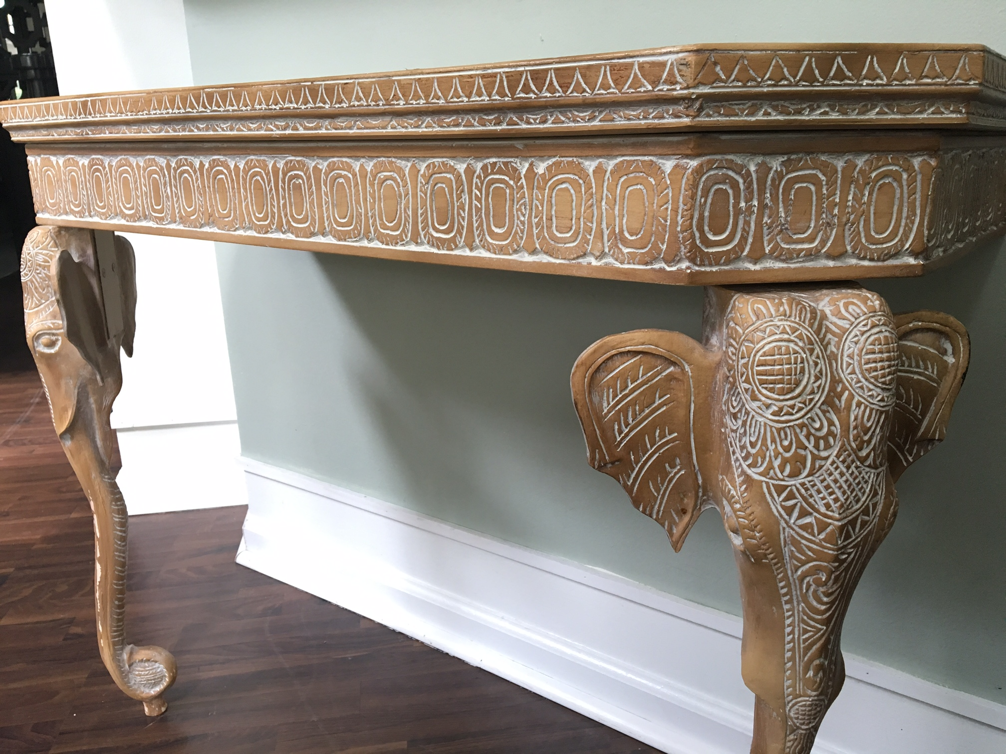 HandCarved Elephant Console Table Chairish