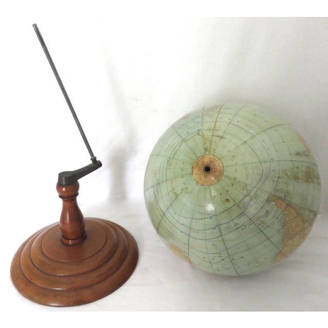 Sky Blue Antique Rand McNally Twelve Inch Terrestrial Globe - Atlas For Sale - Image 8 of 13