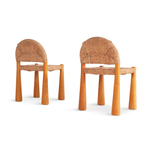 Alessandro Becchi Wicker & Solid Pine Toscanolla Chairs by Alessandro Becchi for Giovanetti For Sale - Image 4 of 8