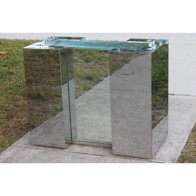 Exceptional Vintage Chrome & Mirror mirrored dining table, console or office desk base. Glass top not included. Extremely...
