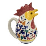 Image of Vintage Hand Painted Rooster Pitcher, Made in Italy For Sale