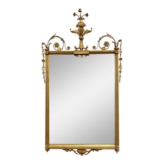 Carved Gold Gilded Wood Mirror With Urn Motif Crest Giltwood For Sale