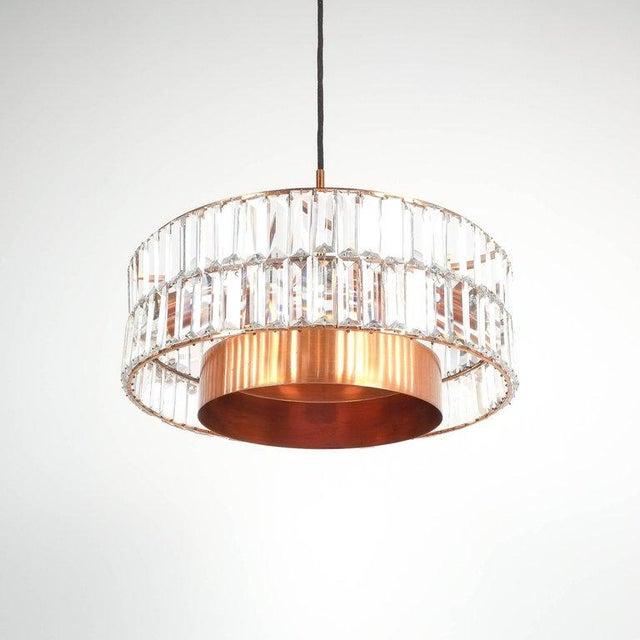 Copper Jo Hammerborg Attributed for Fog & Mørup Large Chandelier Denmark Lamp, 1960 For Sale - Image 8 of 8