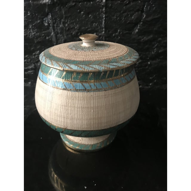 Vintage 1960s Bitossi Seta Series in lidded container sgraffito pottery in Blue, Green, Cream and Gold by Aldo Londi for...