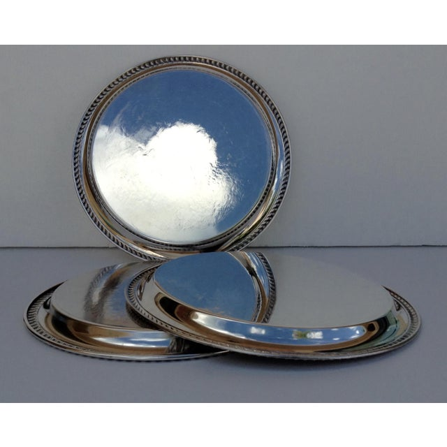 Large Silver Plate Round Platter Trays -Set of 3 - Image 9 of 11