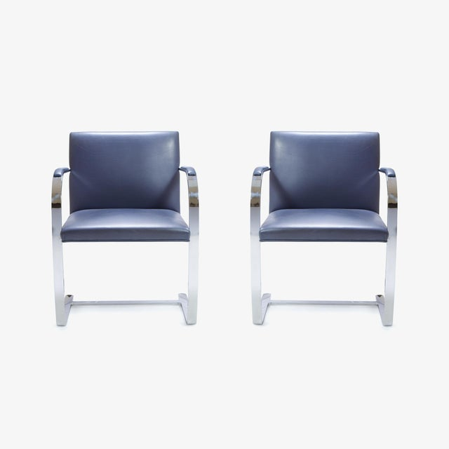 Mies Van Der Rohe for Knoll Brno Flat-Bar Chairs in Navy Leather, Pair - Image 4 of 11