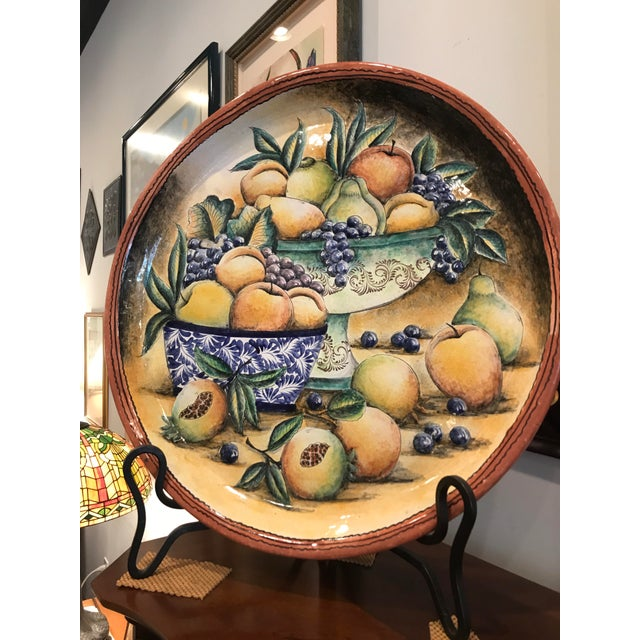 This stunning oversized Majolica Platter was crafted in Mexico and is signed on the bottom. Gorgeous fruit painting on the...