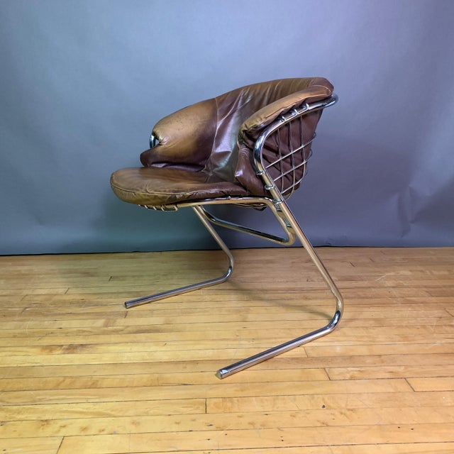 Gaston Rinaldi 1970s Leather Wireframe Armchair, Rima Italy For Sale - Image 12 of 12