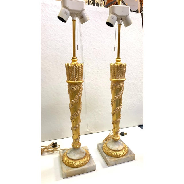 1950s Vintage French Empire Gold Dore Marble Table Lamps- a Pair For Sale - Image 9 of 11