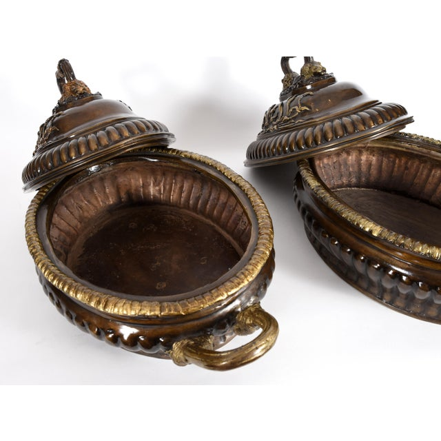 Early 20th Century Neoclassical Style Bronze Tureen Centerpieces - a Pair For Sale - Image 9 of 13