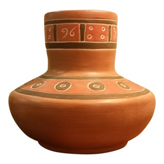 Vintage Southwestern Terra Cotta Vase For Sale