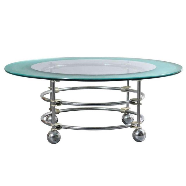 1980s Jay Spectre for Century Chrome and Glass Cocktail Table For Sale - Image 5 of 5