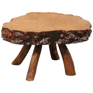 Spanish Burl Wood Slab Rustic Coffee Table For Sale