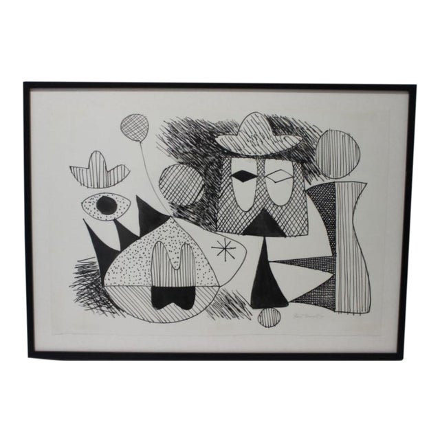 Mid-Century Modern 1970 Pen-Ink Abstract Painting by Listed Artist Rene Marcel Gruslin For Sale