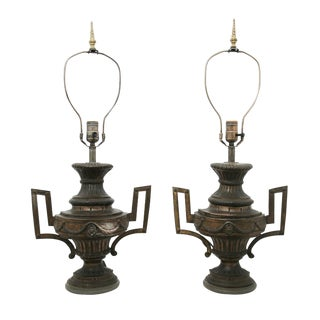 Mid 19th Century Brass Urn Lamps - a Pair For Sale