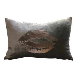 "Platinum Velvet Lips Pillow - 12"" x 16"""